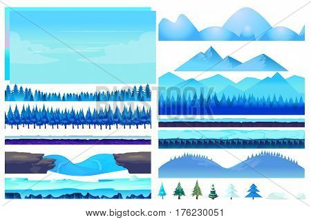Cartoon vector winter game Nature Elements set, Vector collection For Video Game On White Background