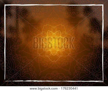 Shiny floral mandala on sunset tropic blurred background. Indian sacred geometry. For yoga studio, tantra or meditation classes and retreat. Banner, flyer, invitation. Vector EPS10 illustration.