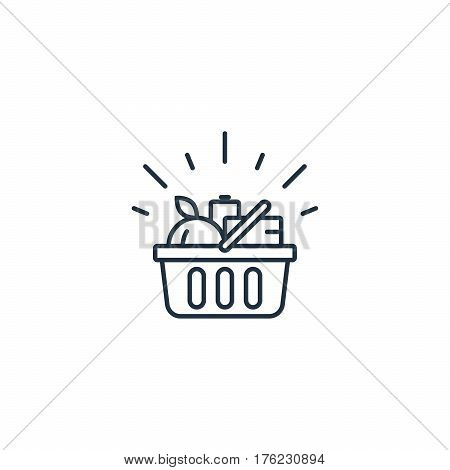 Full basket of food, grocery shopping, special offer, vector line icon design