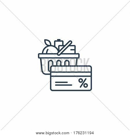 Full basket of food, grocery shopping purchase, special offer, bonus card, discount coupon, loyalty program, premium card vector line icon design