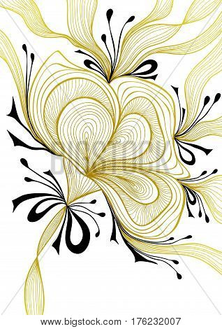 Beautiful abstract background with lace flower bows gold black on white for wallpaper or  decoration package perfumer textile clothes or for screen on mobile telephone tablet or for banners