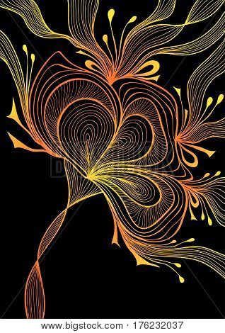 Beautiful abstract background with lace flower bows gold orange on black for wallpaper or  decoration package perfumer textile clothes or for screen on mobile telephone tablet or for banners