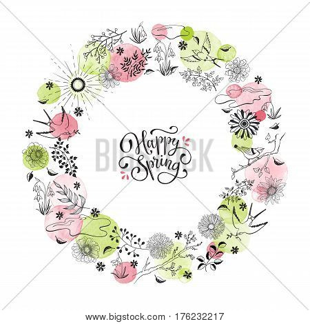 Hand drawn spring objects frame. Collection of spring accessories in circle shape isolated on white background. Happy spring greeting card.