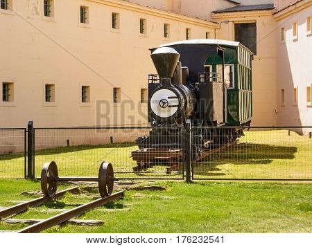 Ushuaia Argentina - October 27 2016: Old originl train in Marttime museum of Ushuaia with nobody