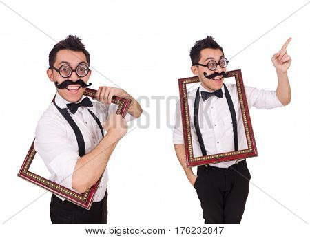 Young man with frame isolated on white