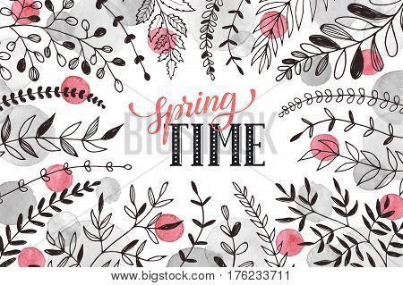 Hello spring lettering with branches and whatercolor spots on white background. Spring time wording. Modern calligraphy for greeting card design.