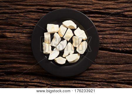 Durian Zibethinus King Of Fruit Freeze Dry On Wooden Background