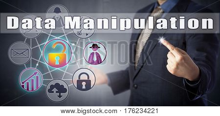 Male cyber specialist in blue shirt and suit is spotting a Data Manipulation. Information technology metaphor and cyber security concept for the misuse of statistics and attack on data integrity. poster