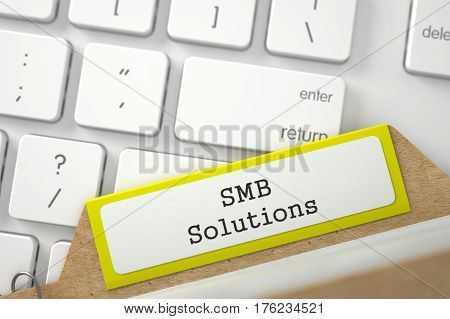Yellow Index Card with Inscription SMB Solutions Lays on Modern Keyboard. Closeup View. Blurred Image. 3D Rendering.