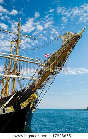 ODESSA UKRAINE - CIRCA August 2016: Education barquentine Italian Navy