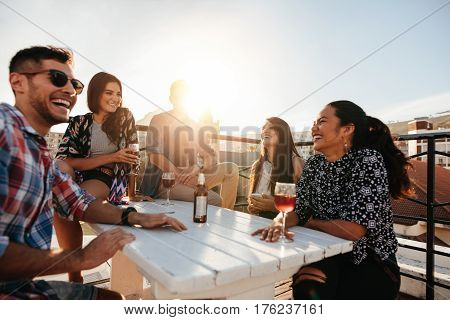 Happy Young People Having A Rooftop Party