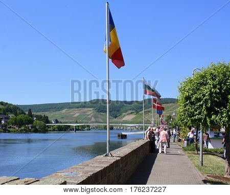 Zell-Kaimt. May-25-2011. Tourists waiting for the tour boat on the Moselle in Zell. Germany