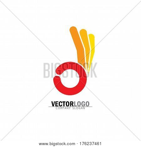 Ok Symbol Or Approval Icon With Human Hand - Concept Vector In Orange.
