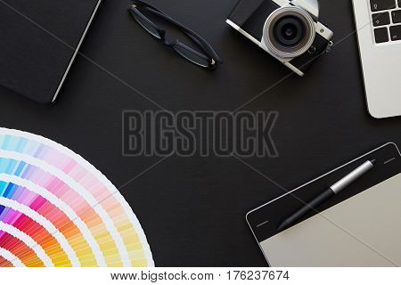 Top View Of The Desk Graphic Designer