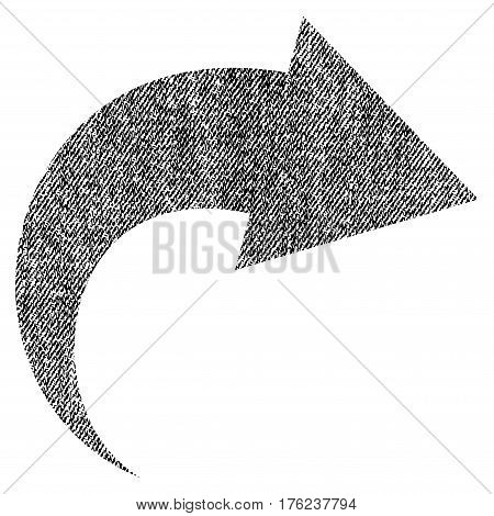 Redo vector textured icon for overlay watermark stamps. Fabric black vectorized texture. Symbol with dust design. Rubber seal stamp with fiber textile structure.