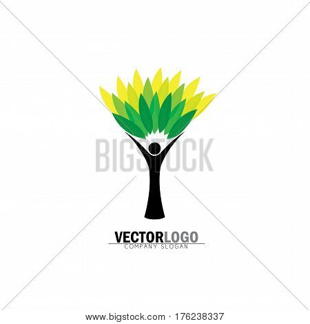 People Tree Icon With Green Leaves - Eco Concept Vector Logo