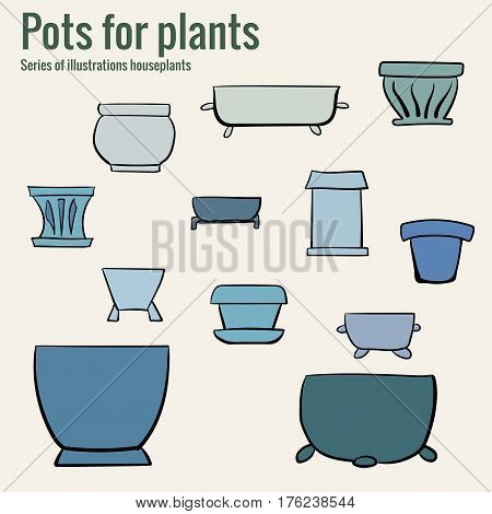 Pots for houseplants. Hand-drawn illustration. Vector art