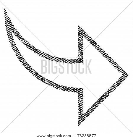 Redo vector textured icon for overlay watermark stamps. Fabric black vectorized texture. Symbol with unclean design. Rubber seal stamp with fiber textile structure.