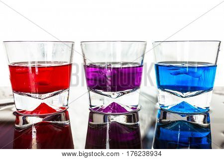 Colorful cocktails in glasses