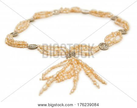 Elegant necklace isolated on white background