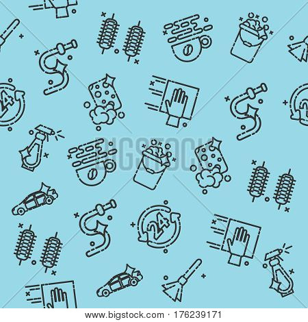 Car wash pattern. Auto cleaner washer shower service icons