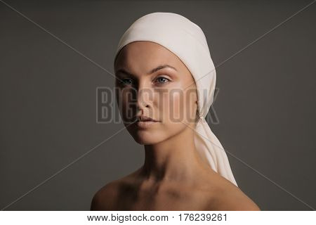 Beautiful Young Woman With Head Scarf