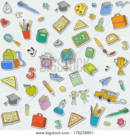 Concept of education. Back to school background. Freehand drawing school items.