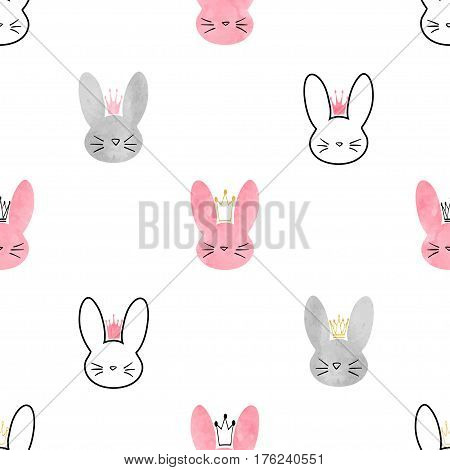 Seamless little princess bunny pattern. Vector background with cute rabbits for girls design.