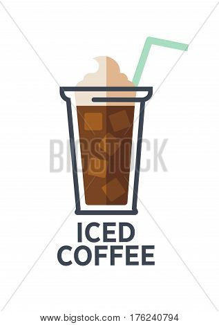 Coffee for takeaway logo template. Vector cold iced drink cup with cream and drinking straw. Vector isolated flat icon for fast food cafe, cafeteria or coffeehouse design element