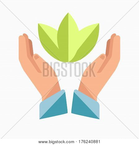 Charity logo template. Vector symbol of hands and leaf for volunteer care center or mercy organization