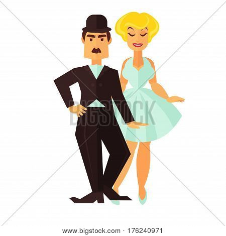 Cinema or movie actor comic man and star woman actress logo for cinema design element. Vector isolated flat icons of comedy or musical characters