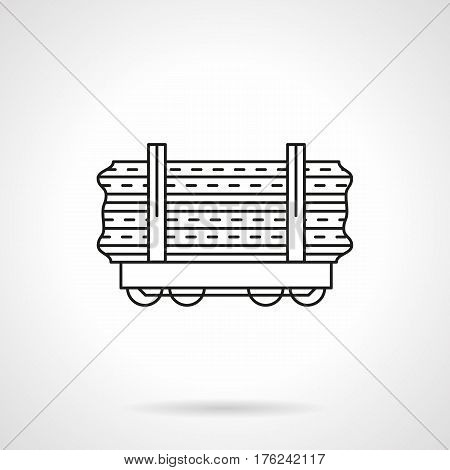 Railroad transportation of wood logs, trunks and other long cargoes. Freight flat car symbol. Black line vector icon.