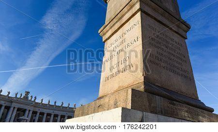 Obelisk In St Peter Square Vatican Rome