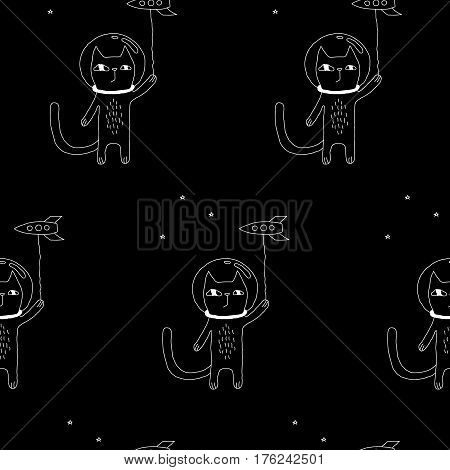 Lovely cat pattern with hand drawn space cat and a rocket. Cute vector black and white cat pattern. Seamless monochrome cat pattern for fabric, wallpapers, wrapping paper, cards and web backgrounds.
