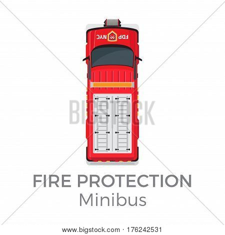 Fire protection minibus car service means of transportation isolated on white background. Vector city transport icon, red fire car for firefighting , top view on vehicle in cartoon style flat design