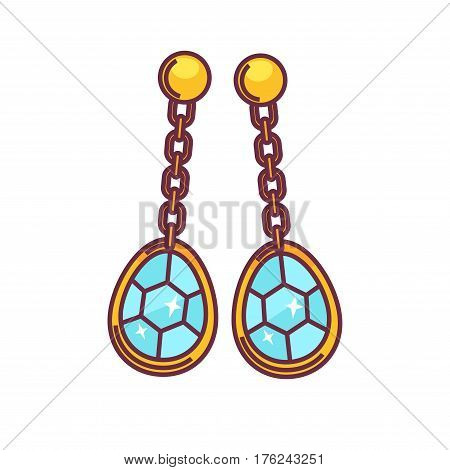 Jewelry golden handmade earrings of gems. Vector flat icon of luxury bijou ear pendants. Design element for jeweler shop