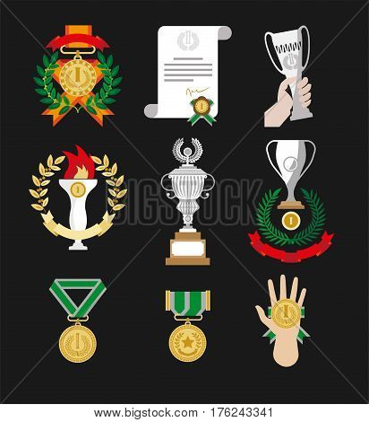 Champion awards and winner gold medals, cup goblets and honor wreath ribbons and certificates in hands. Vector isolated sport victory rewards and prizes icons or logo set