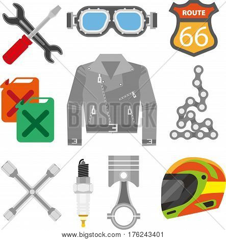 Motor racing accessories of racer clothing, motorcycle or car spare parts and details. Gasoline canister, wrench and screwdriver, jacket and safety helmet or glasses. Vector isolated flat icons set