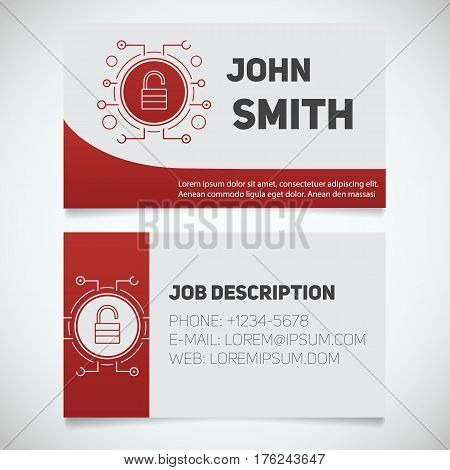 Business card print template with open lock logo. Digital security. Personal data. Padlock in microchip pathways. Stationery design concept. Vector illustration