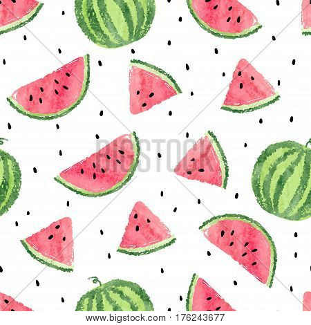 Watermelons pattern. Seamless vector summer background with watermelon slices.