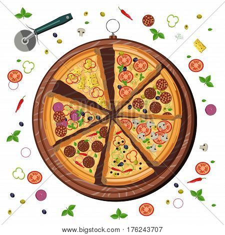 Pizza slices on wooden cutting board for italian pizzeria design. Vector ingredients of basil, pepperoni or tomatoes and mozzarella cheese for margherita, napoletana or capricciosa and marinara