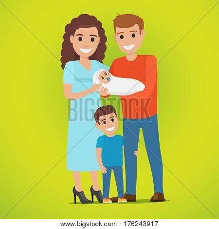 Young married smiling couple holds newborn in white clothing and hilarious little boy stands near, hugging father s leg. Vector illustration of happy family day concept on greenish background.