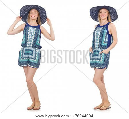 Collage of woman in blue dress and panama on white