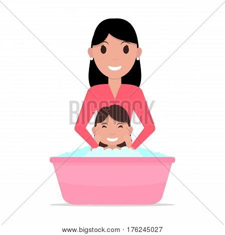 Vector illustration of a cartoon mother bathes a baby. Isolated white background. Flat style. A woman washes a child girl. Kid takes a bath.