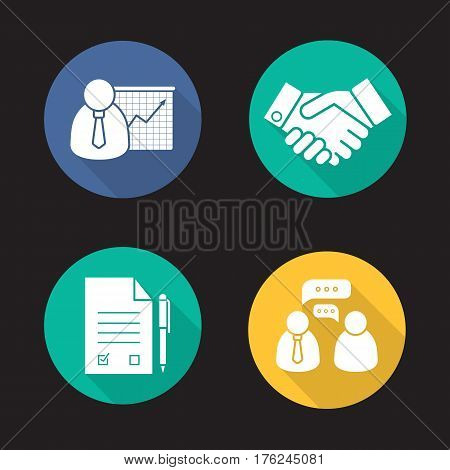 Business and partnership. Flat design long shadow icons set. Presentation with graph, handshake symbol, signed contract with pen, business talk. Vector silhouette illustration