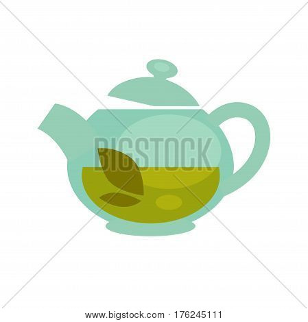Glass teapot with brewed green or black tea leaf drink for teahouse cafe or cafeteria design element. Vector flat template icon