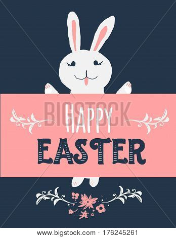 Cartoon vintage easter bunny on dark background with banner. illustration of cute rabbit with Happy Easter greeting
