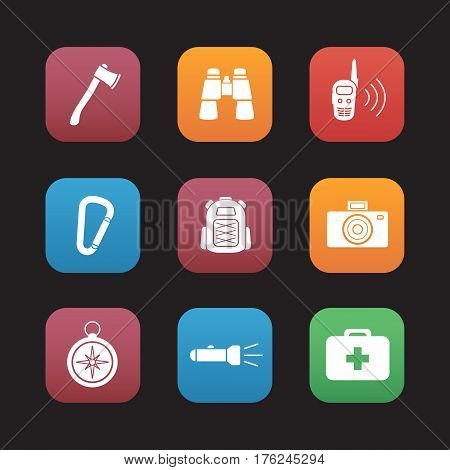 Camping equipment flat design icons set. Tourist gear. Axe, binoculars, walkie-talkie, backpack, photo camera, compass, flashlight, first aid kit. Web application interface. Vector illustrations