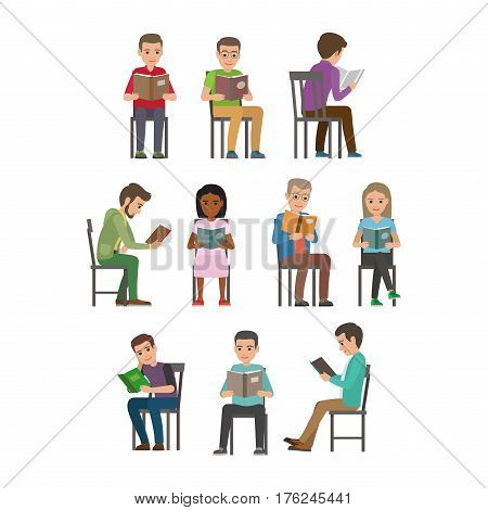 People reading textbooks. Men and women seating on chair with open book in hands flat vector isolated on white background. Enthusiastic readers illustration for educational and hobby concepts