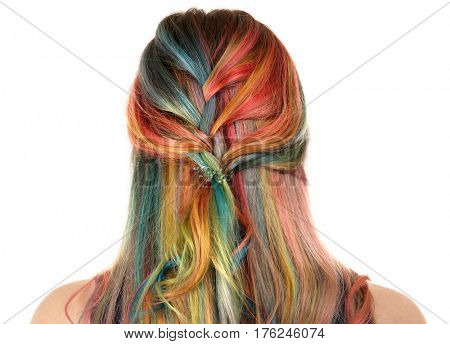 Trendy hairstyle concept. Young woman with colorful dyed hair on white background poster